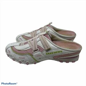 Skechers Mules Snickers Velcro Close Leather White